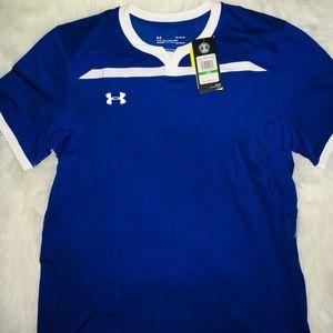 Under Armour Royal/Wht men's short sleeve shirt LG